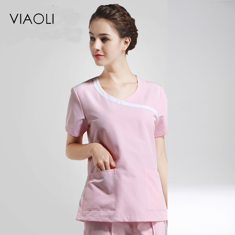 Viaoli 2017Women's Summer Short Sleeve Medical Scrub Clothes Sets Dental Clinic Beauty Salon Nurse Uniforms Fashion Design Slim