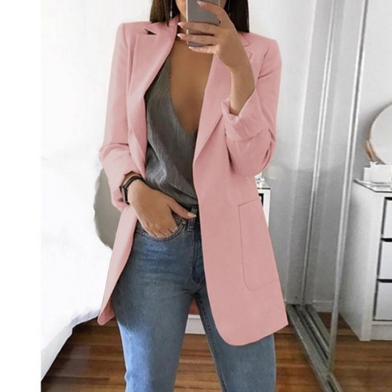 Plus Size S-5XL Long Women Blazers And Jackets Autumn Clothes Women Suit European Work OL Thin Suit Blazer Mujer Blazer Outwear