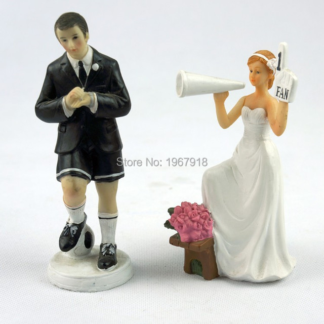 1d7532d8cdc2 Football Theme Bride   Groom Resin Cake Topper Wedding Couple Cake Stand Topper  Bridal Shower Cake Figurine