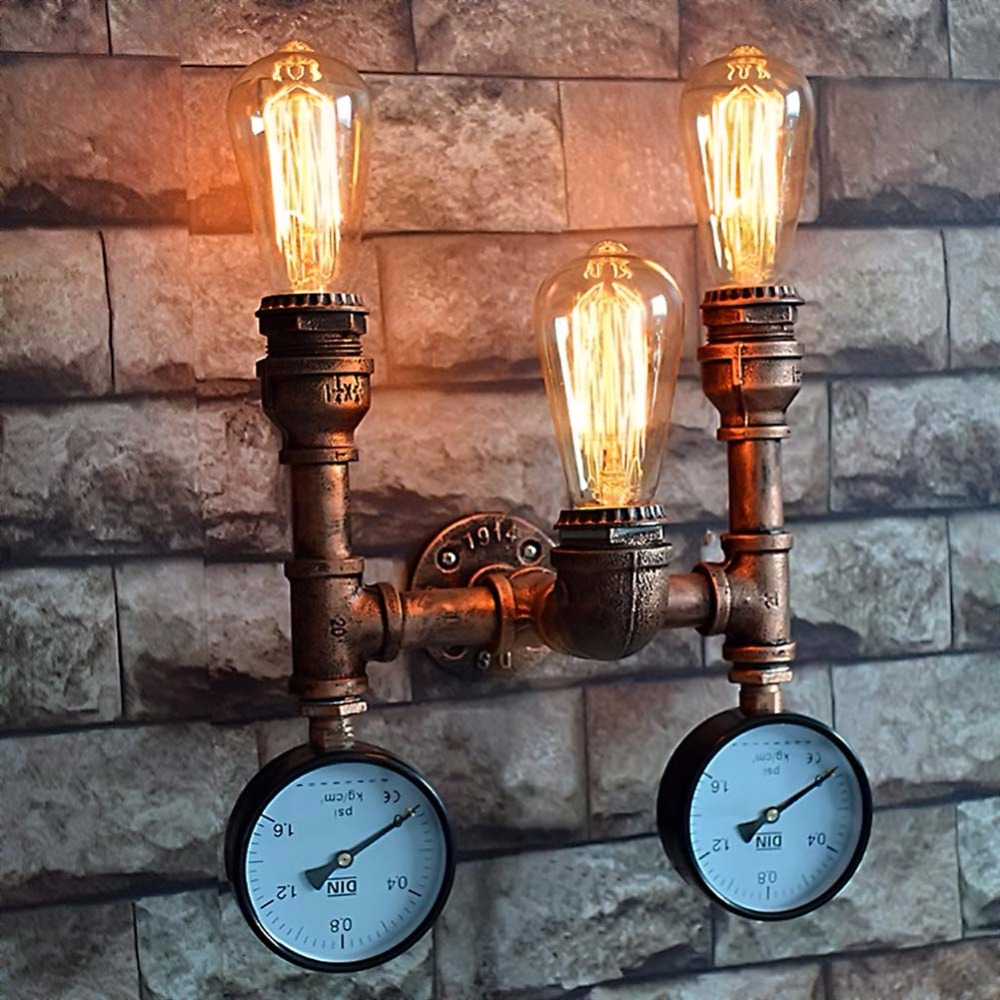 Simple Wrought Iron Water Pipe Wall Lamp Industrial Vintage Wall Lights Fixtures For Home Lighting Bedside Light Bar Cafe vintage wall lamp indoor lighting bedside lamps wall lights for home