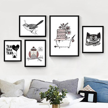 Factory wholesale living room decorative painting restaurant modern minimalist cartoon pictures of the northern European black a