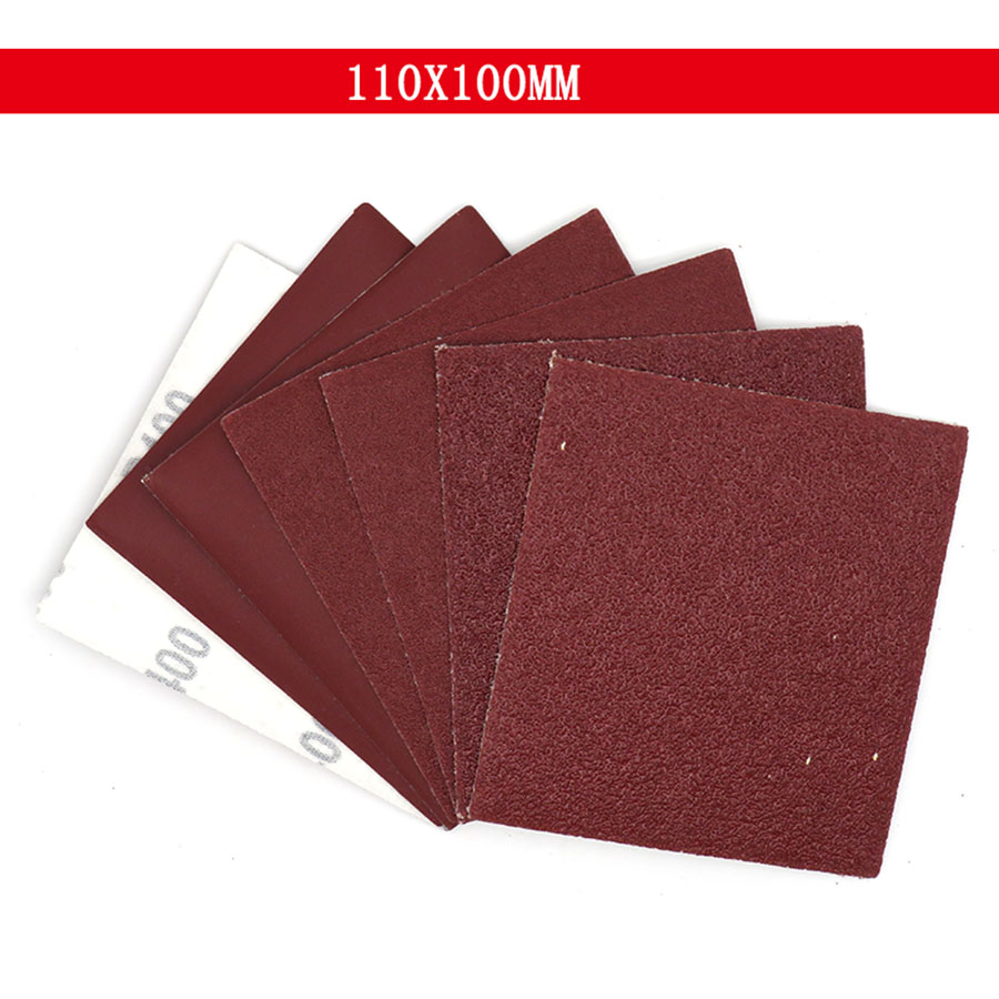 5-100Pcs 100x110mm Square Sandpaper Sand Sheets Grit 40 100 400 Hook Loop Sanding Red Polishing