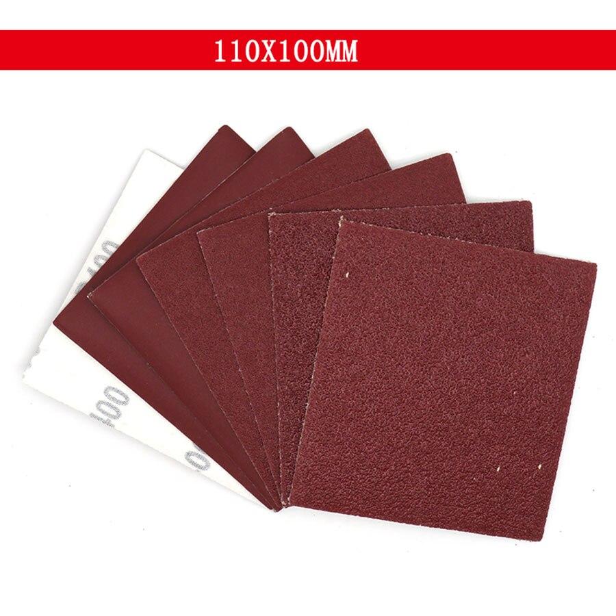 5-100Pcs 100x110mm Square Sandpaper Sand Sheets Grit 40 100 400 Hook Loop Sanding Red Polishing