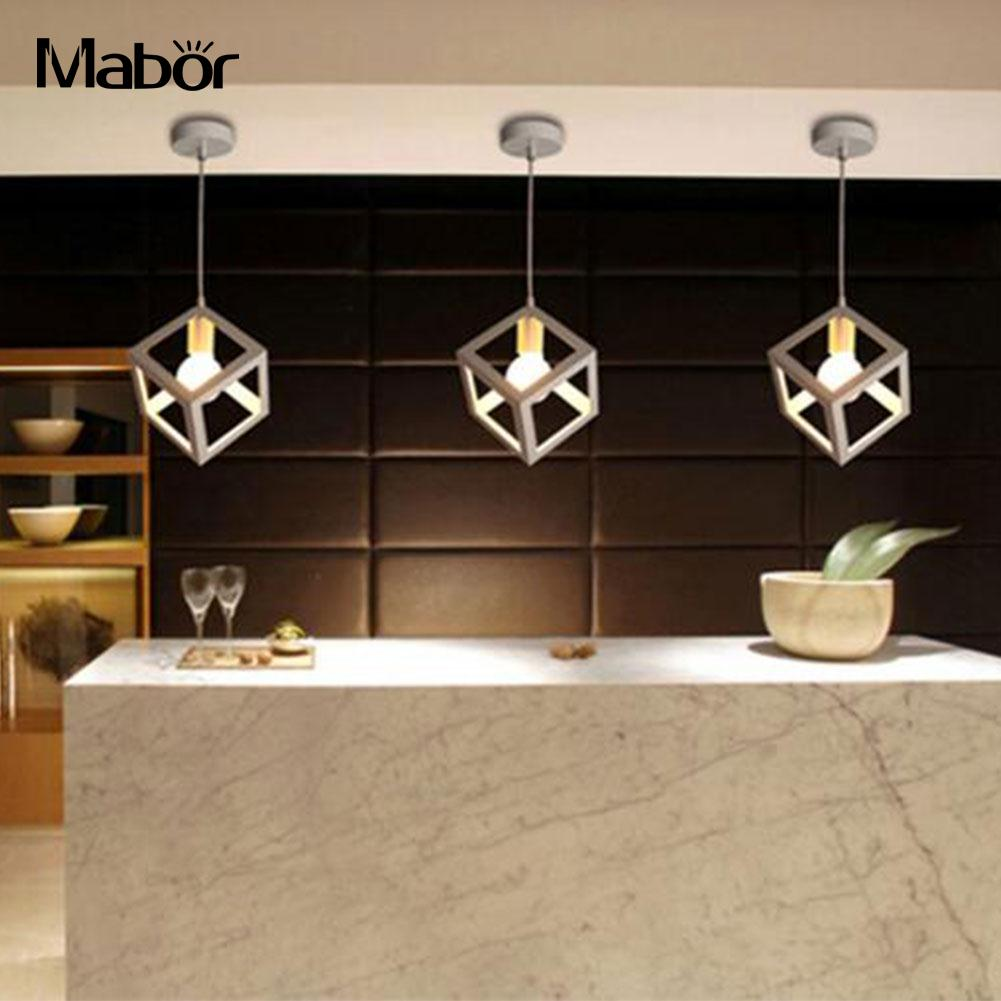 Mabor Lampshades E27 Bulb Cage Guard Ceiling Pendant Square Shape Cover Shade Light W/Cable