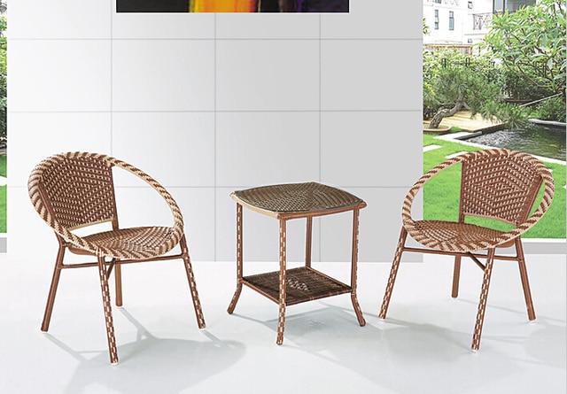 Goedkope groothandel rotan rieten meubels set, Balkon stoel en tafel