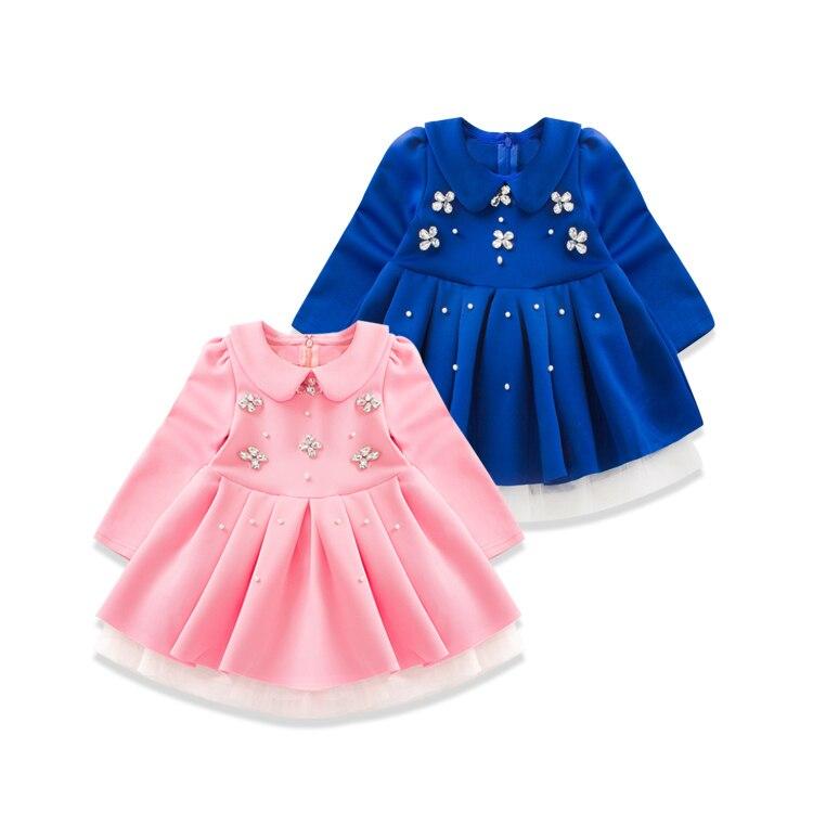 2016 Spring New Pattern Korean Children Dress Girl Baby A Doll Lead Light Drill Dress Girl Fashion Full Dress
