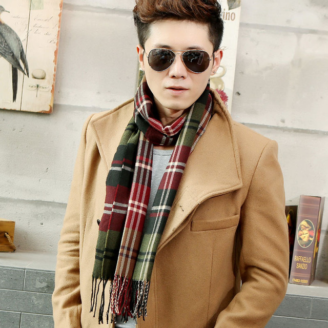 d0d5575e99 New 2016 winter scarf men warm cashmere big European and American classic  business men s plaid mens scarf knit scarves