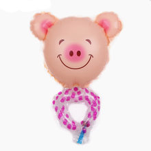 TSZWJ E-004 Free Shipping New Mini Hand Ring Pig Aluminum Film Balloon Children Toy Party Birthday Decorative Balloon(China)