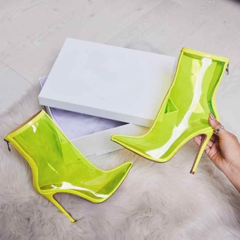 Mavi sarı şeffaf PVC yarım çizmeler kadınlar için 2018 seksi Yüksek topuklu yağmur çizmeleri sivri burun yaz ayakkabı fetiş botas mujer