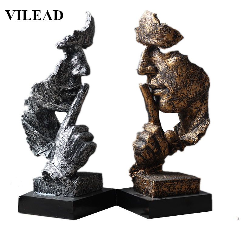 VILEAD 32cm Resin Silence is Gold Mask Statue Abstract Ornaments Statuettes Mask Sculpture Craft for Office Vintage Home Decor(China)