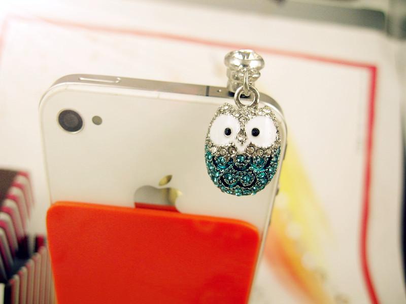 , Cute Big Eyed Diamond Owl Phone Dust Plug Cell Phone Accessories 3.5mm Earphone Dust Plug