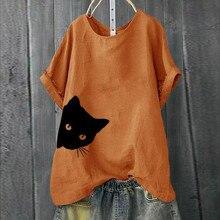 Повседневная Женская футболка размера плюс, свободная футболка с коротким рукавом и принтом кота, топы, женская футболка с коротким рукавом, хлопок, лето# P35