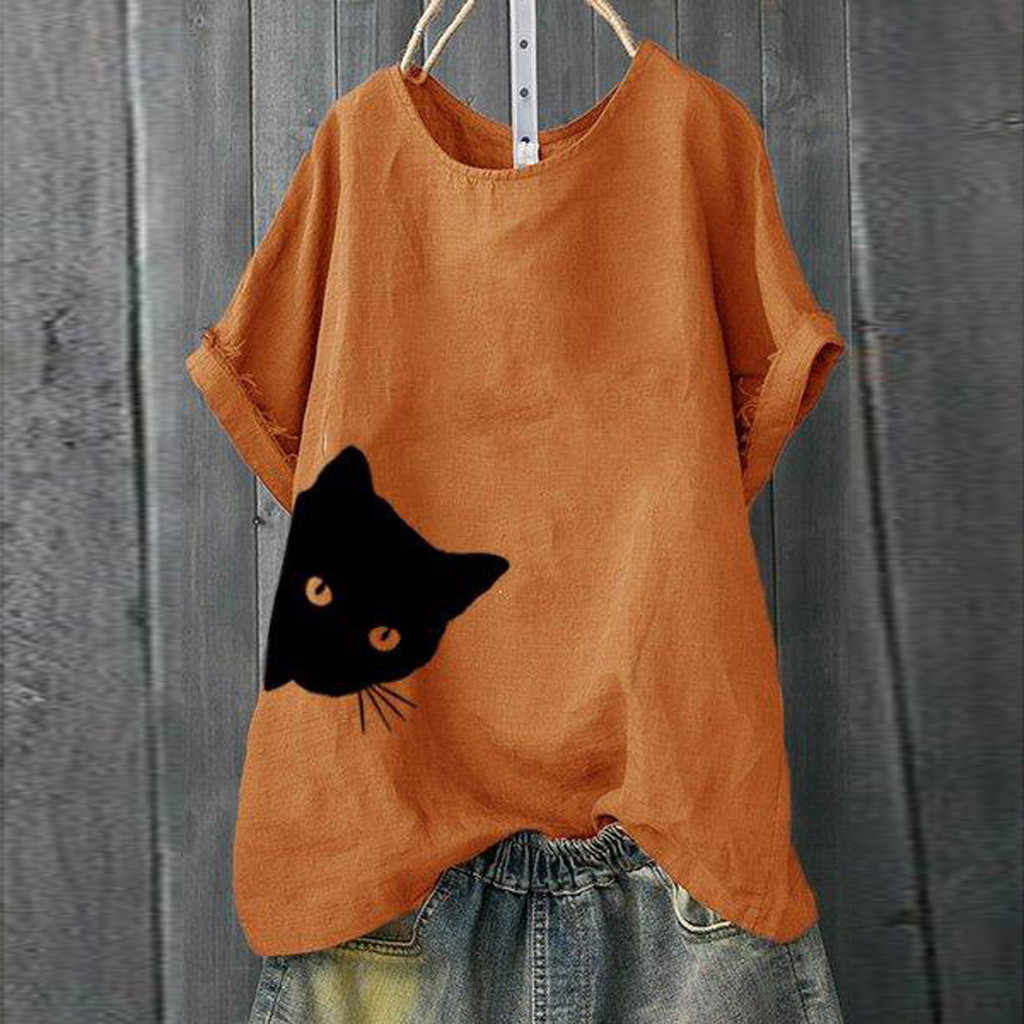casual tshirt women plus size Solid Cat Print Loose Short Sleeve Shirt Tops women tshirt short sleeve cotton summer#P35