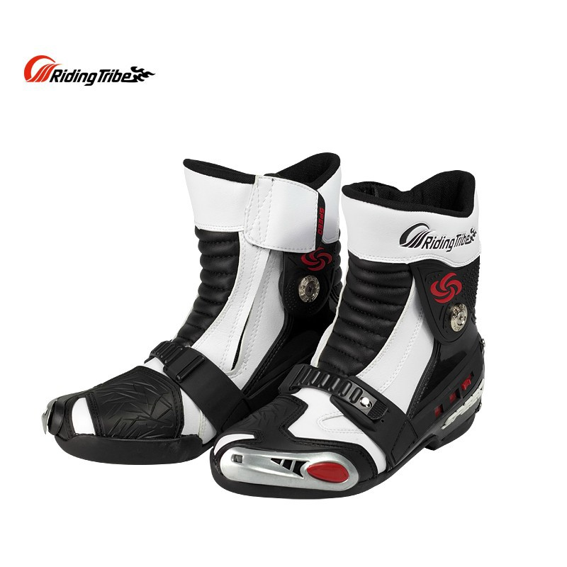 Riding Tribe SPEED Motorcycle Racing Boots Microfiber Leather High Ankle Motocross Motorbike Riding Boots Shoes riding tribe motorcycle waterproof boots pu leather rain botas racing professional speed racing botte motorcross motorbike boots