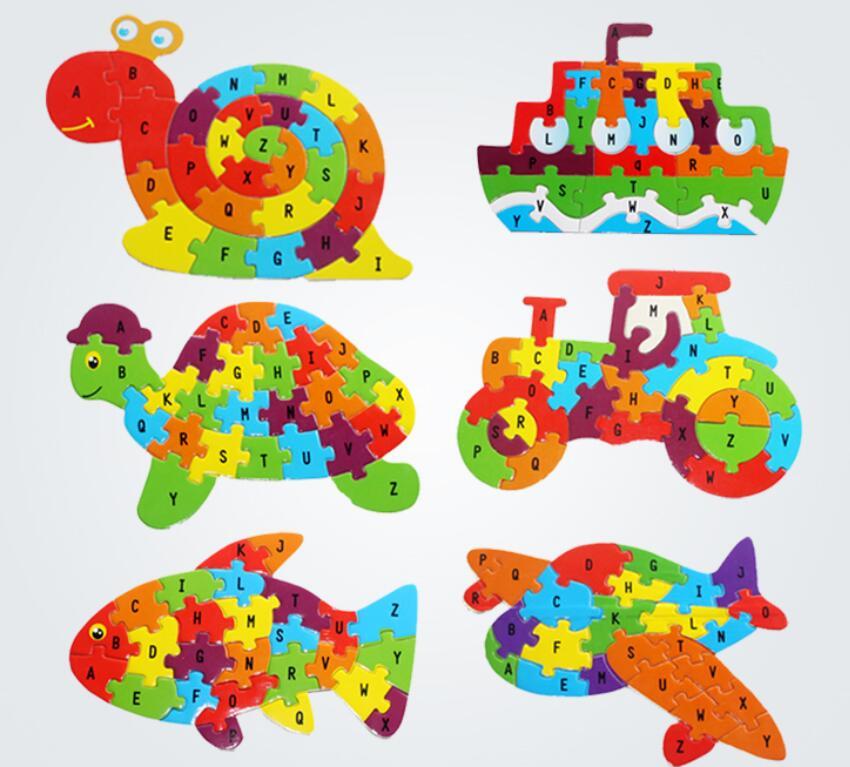 La inteligencia de los niños juguete de la cognición inglés carta edificio de madera de rompecabezas animal bebé juguetes DE LOS NIÑOS 2-6 años