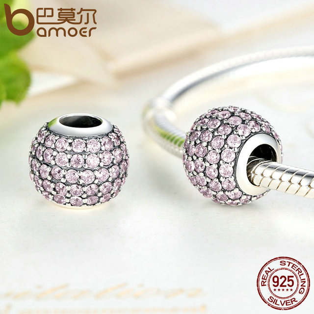 Sterling Silver Pink Clearly CZ Round Charm