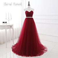 Eternal Moment Burgundy A Line Evening Dresses Long Sweetheart Latest Evening Gown Designs With Sequin Belt