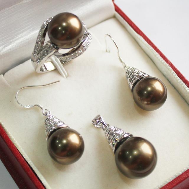 AAA đen trắng hồng Tím Ngọc Trai Biển Phía Nam Bông Tai & Nhẫn và Vòng Cổ Mặt Dây 5 Sets + Chain Sỉ bạc