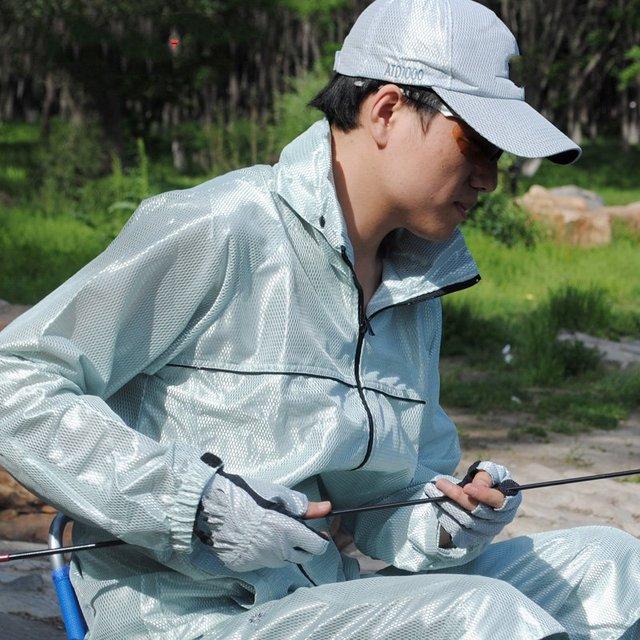 Terno de pesca tamanho grande longo manguito cap serviço masculino verão de proteção solar com capuz com máscara
