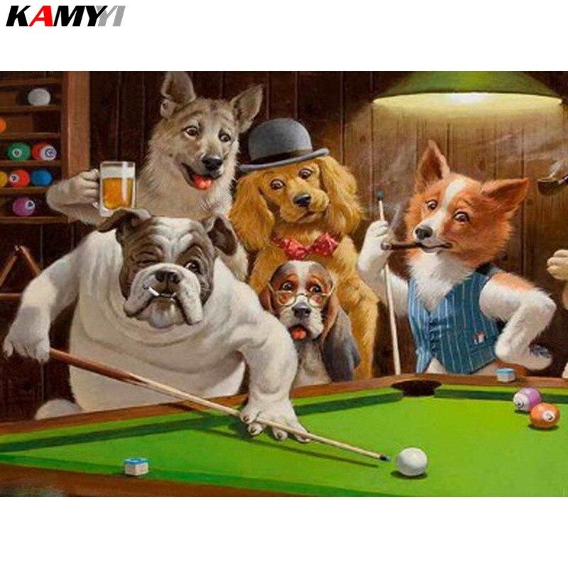 Diamond Mosaic Dogs 5d Diy Diamond Painting Billiards