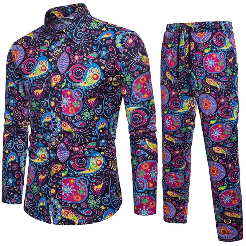 Рубашка + Штаны мужские рубашки с длинным рукавом молодежи Бизнес блузка Slim Fit хлопковая рубашка для Для мужчин плюс Размеры рубашки с принт...
