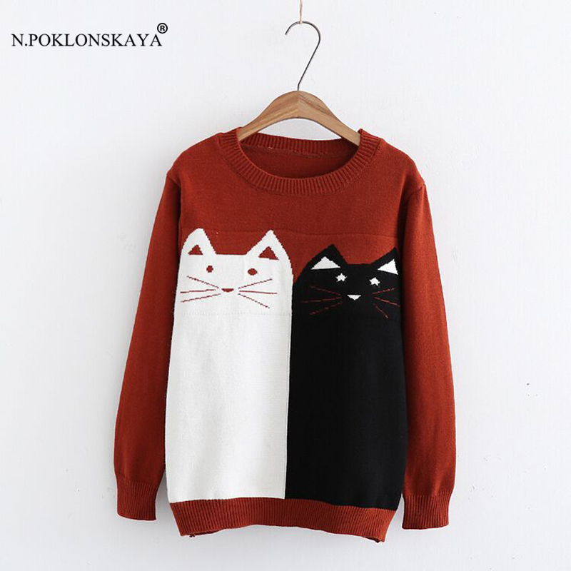 Pullover Women Autumn Long Sleeve Womens Jumpers Sweaters Cute Cartoon Pattern Knitted Cotton Tops Female Pullovers christmas