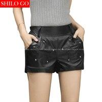 SHILO GO новые модные уличные женские шорты Империя кожаные шорты Овчина натуральная черная шорты женские повседневные шорты хорошего качеств