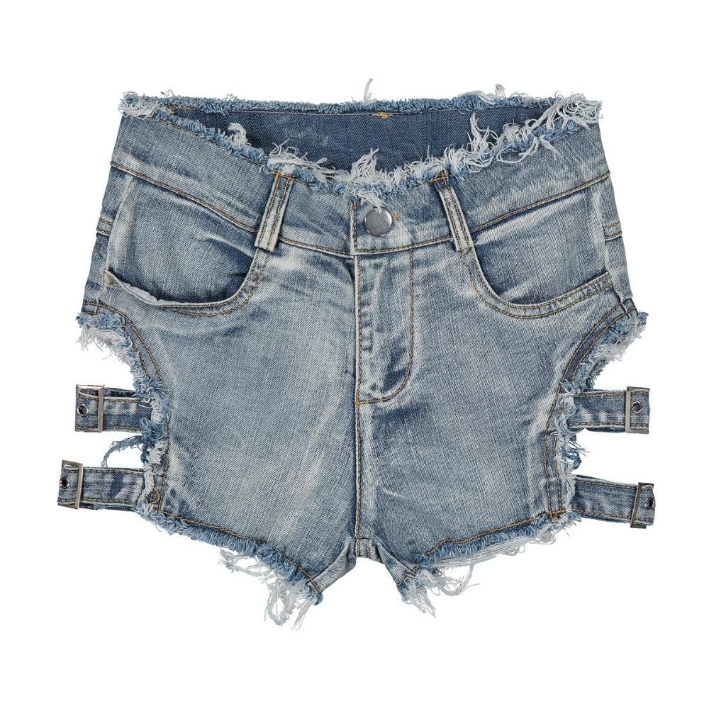 2018 Summer Sexy Women Denim Shorts Hollow Out Bandage Punk Rock High Waist Shorts 10