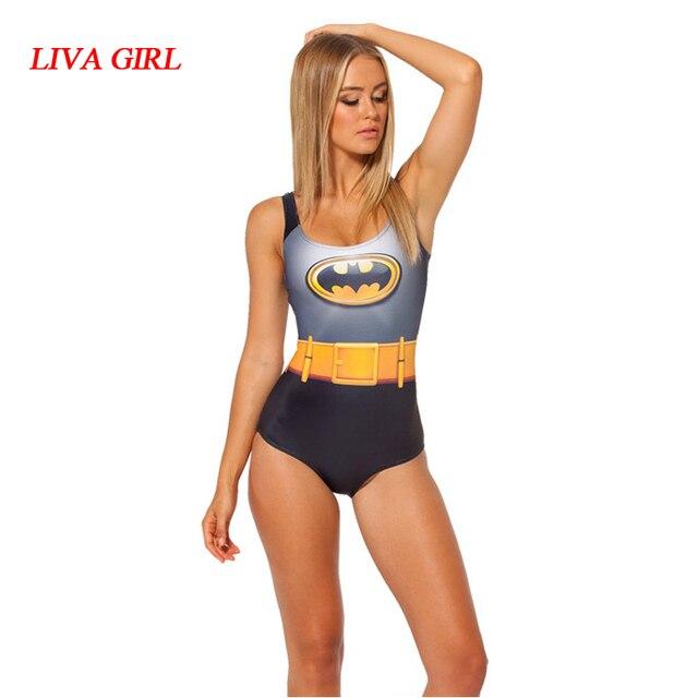 99cd9698490b1 Super Hero Batman Sexy Swimsuit Women Cosplay Batman Swimwear Low Cut Back Bathing  Suit Swim Wear Female Monokini