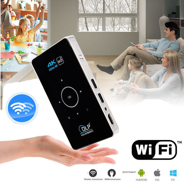 Big Promo OTHA Mini HD Pocket Projector 2GB/16GB Mini Portable Android DLP Projector Touch Pad WIFI HD 1080P Home Cinema with Triopd