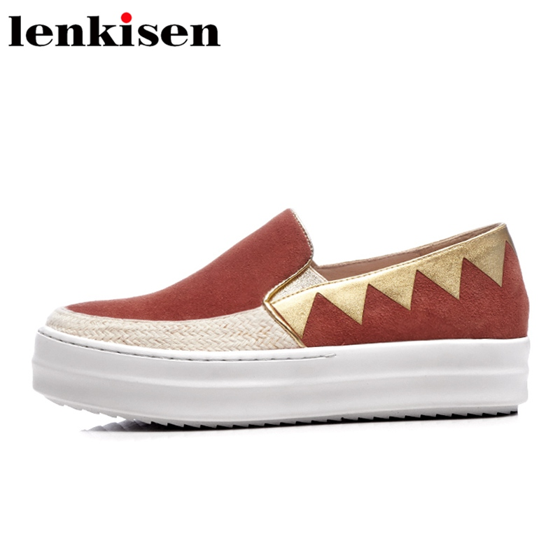 Lenkisen 2018 mixed colors round toe slip on platform brand causal shoes med heel runway spring sweet women vulcanized shoes L66