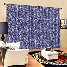 Bue Flowers print Chinese Customized 3D Blackout Curtains Living Room Bedroom Hotel Window Blackout curtain(China)