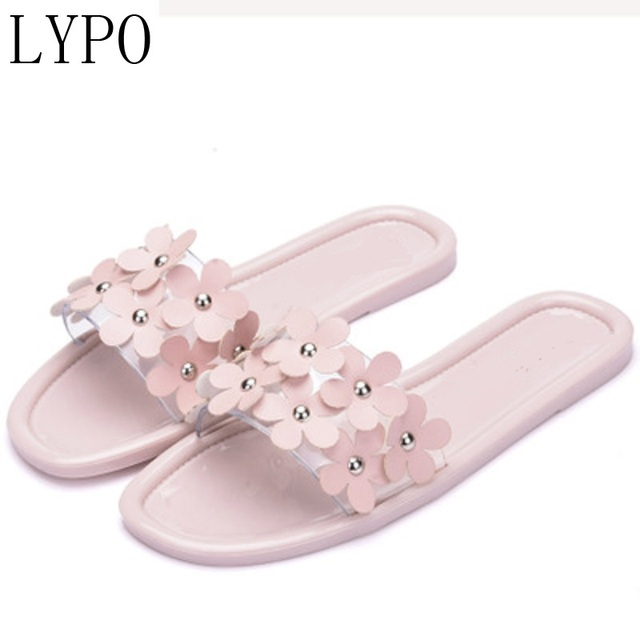 ed9d1745d LYPO The new 2018 plastic sandals women summer flowers Fashionable word  slippers
