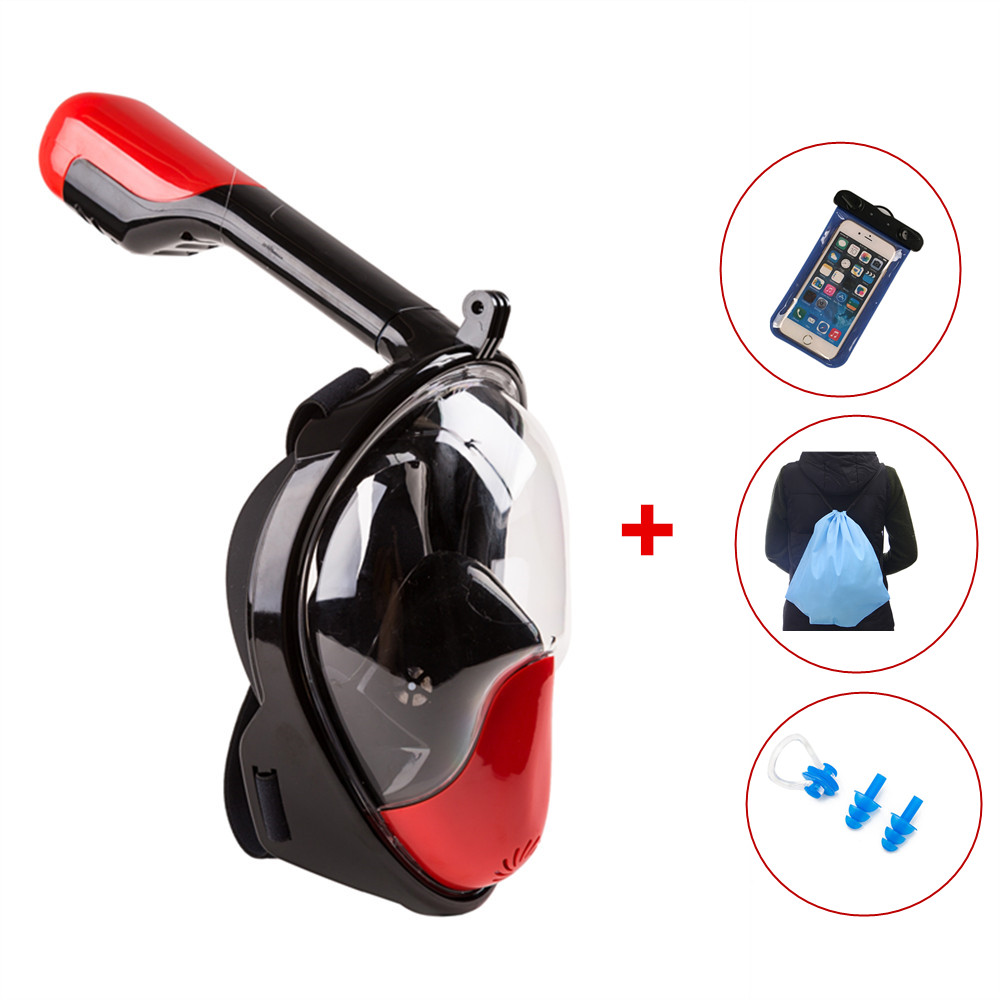Full Face Snorkeling Mask 180 Degree Wide View Scuba Underwater Detachable Diving Mask Swimming Snorkel Anti Fog Snorkeling anti fog full face snorkeling mask diving snorkel 180 degree vision for gopro free breathing dive gear tube swimming diving mask