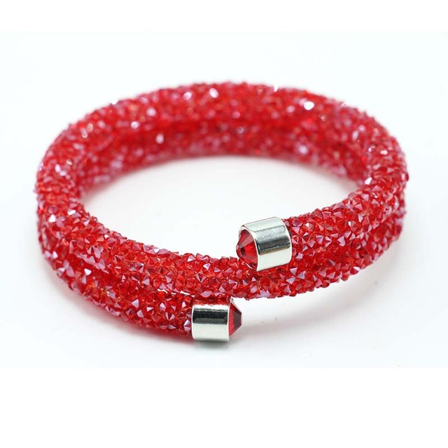 Exquisite Single Circle Crystal  Rhinestones Cuff Multi-layer Bracelet Bangles