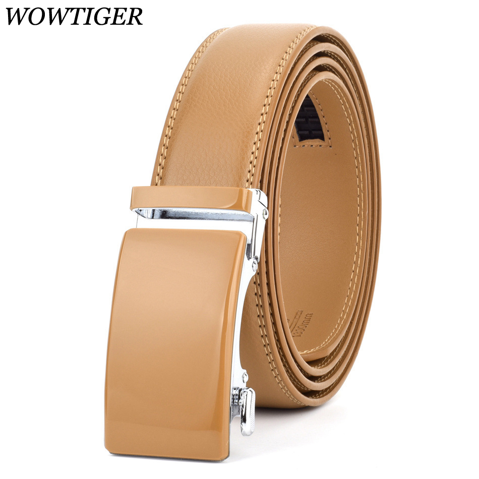 WOWTIGER Black Red Blue 35mm Cowhide Genuine Leather Belt For Men High Quality Male Brand Ratchet Automatic Luxury Men Belts