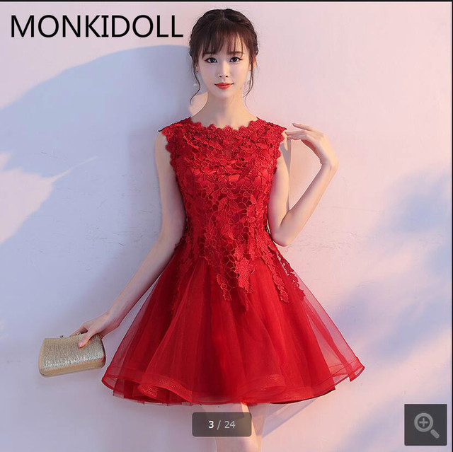 2017 New Arrival Red Lace Short Prom Dress Sleeveless Informal