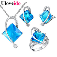 Uloveido 5 Colors Wedding Jewelry Set Blue Crystal Jewelry Gift Sets for Women Earrings Necklace with