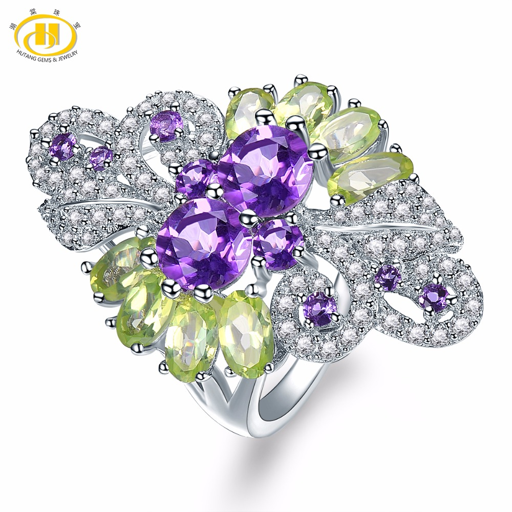 Hutang Engagement Wedding Rings Natural Colorful Gemstone African Amethyst Peridot 925 Sterling Silver Ring Fine Fashion
