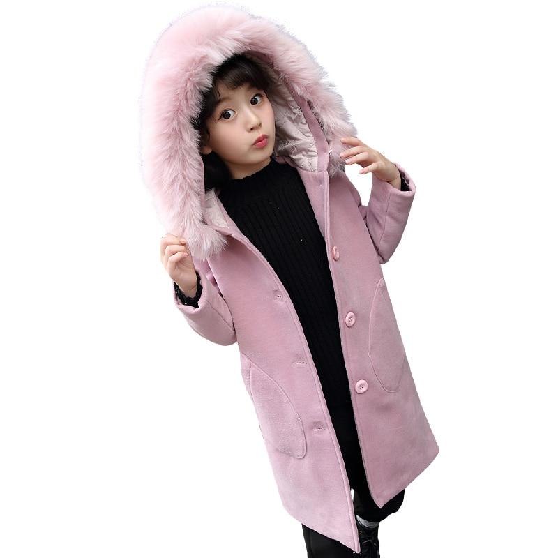 2018 Winter Girls Long Sleeve Warm Coat Children Outerwear Kid School Autumn Keep Warm With Fur Christmas Cute Thick Wool Coat wool blend long a line wrap coat with belt