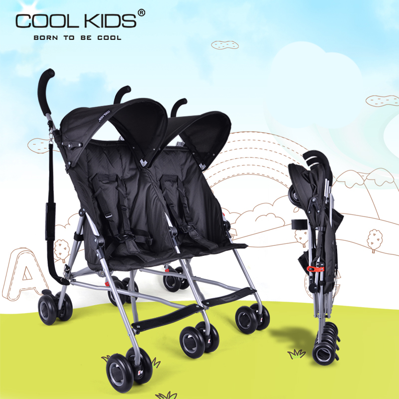 Coolkids baby double stroller ultra-light portable car umbrella folding child twins trolley baby stroller ultra light portable shock absorbers bb child summer baby hadnd car umbrella