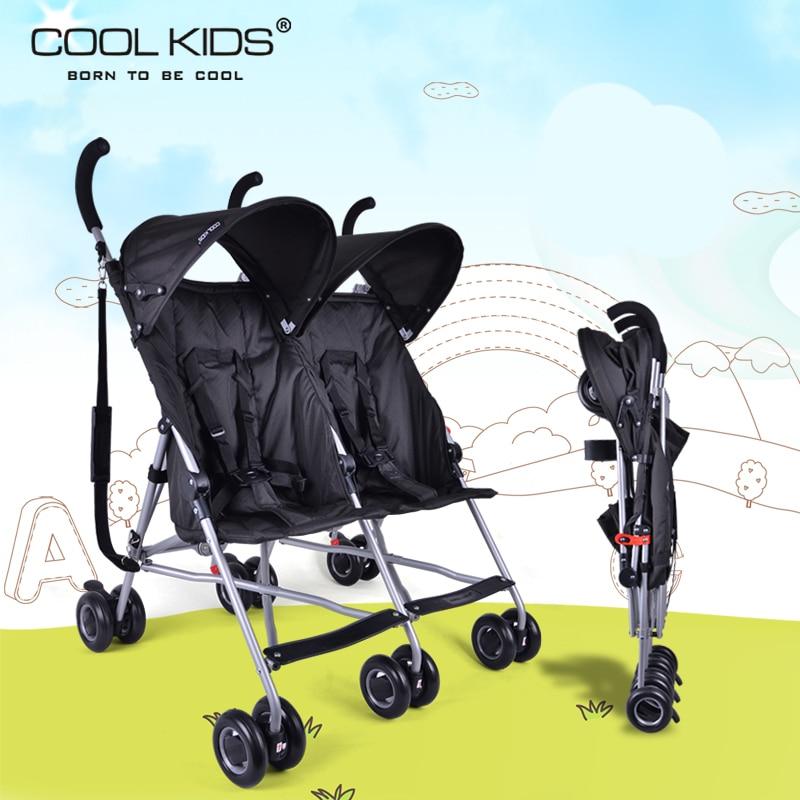 Coolkids baby double stroller ultra-light portable car umbrella folding child twins trolley baby stroller ultra light folding child car portable light the 4runner summer car umbrella brand baby stroller