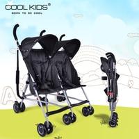 Coolkids baby dubbele kinderwagen ultralichte draagbare auto paraplu vouwen kind tweeling trolley