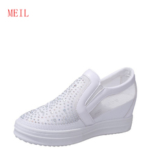 Breathable Mesh White Wedge Sneaker High Platform Height Increased Hidden Shoes 2019 Summer New Wild Casual Thick Sole Net