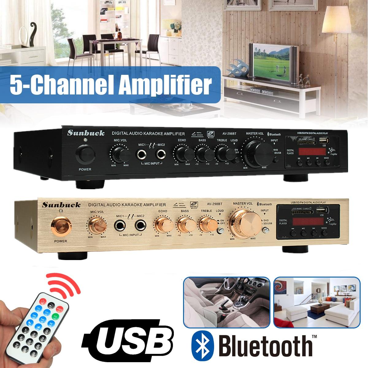 298B Bluetooth 2,0 canal 2000 W 5 canales amplificador de potencia de Audio 220 V AV Amp altavoz con Control remoto soporte FM USB tarjeta SD
