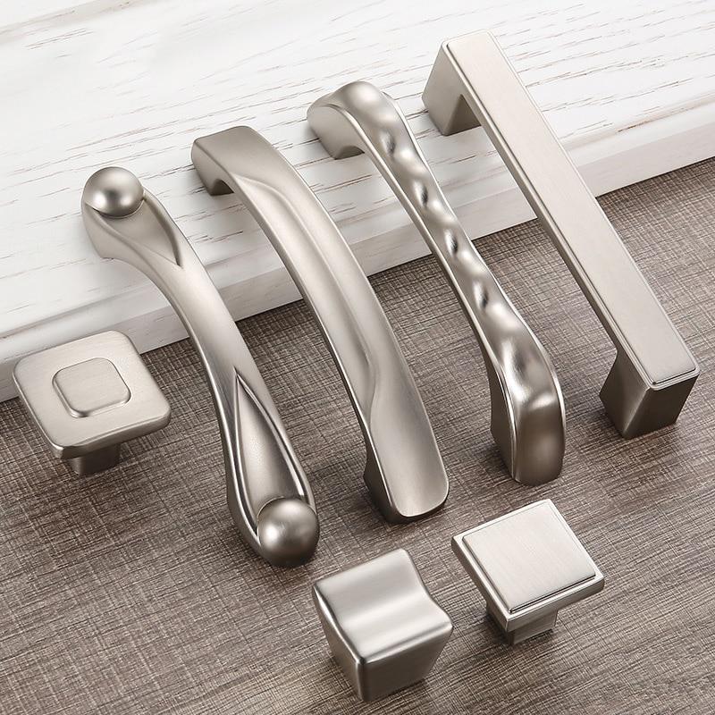 Online 5 Pieces Modern Sliver Door Handles Simple Elegant Drawer Pulls Kitchen Cabinet And S Furniture Handle Hardware Aliexpress