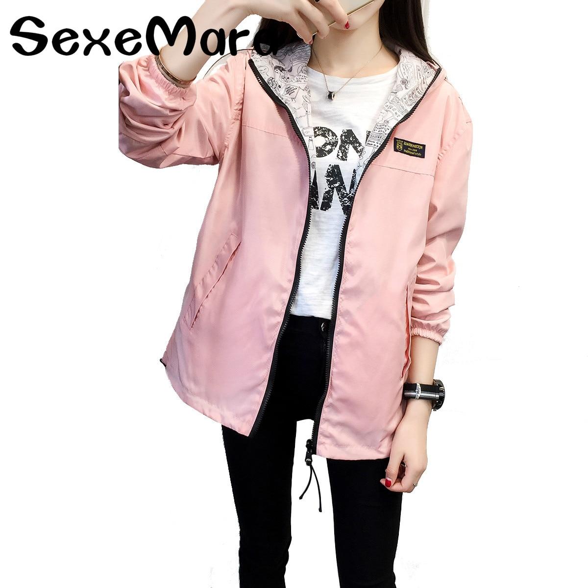 2018 Autumn Women Bomber   Basic     Jacket   Pocket Zipper Hooded Two Side Wear Cartoon Print Outwear Loose Long Sleeves Feminino Coats