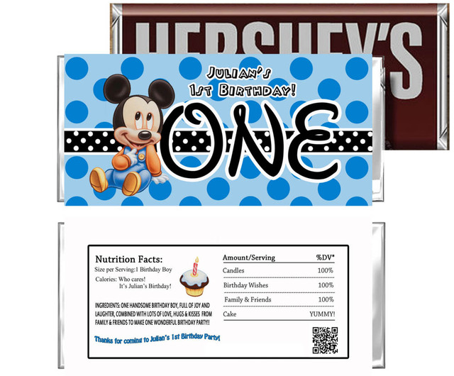48 Personalized Candy Wrer Supplies Wedding Chocolate Bar Wrers Dress Personalised Mickey