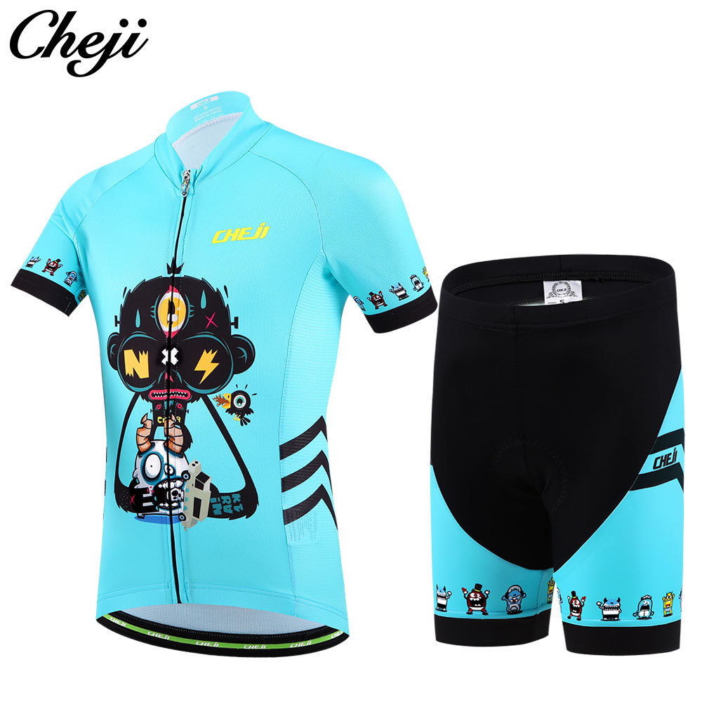 CHEJI Kids Cycling Jersey Shorts Fluorescent Pink Children Boys Girls Bicycle Wear Breathable quick-drying Short sleeve set cheji cycling wear ropa ciclismo boys and girls bike short sleeve clothing set bicycle children jersey short set