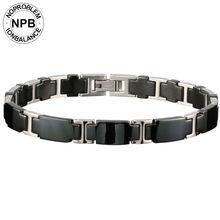 Noproblem 065 3000 ions balance ceramic beads power therapy choker punk fitness tourmaline germanium charms men's bracelet